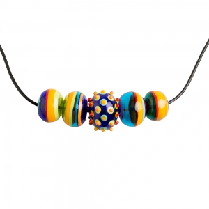 Alicia Niles: 5 Bead Carnival Necklace, Multicolor