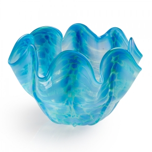 Vitrix Hot Glass Studio: Small Scallop Bowl, Turquoise