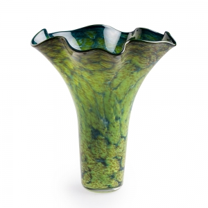 Vitrix Hot Glass Studio: Small Scallop Vase, Earth Tourmaline