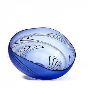 Welmo Glass Studio: Zig Zag Bowl, Cobalt