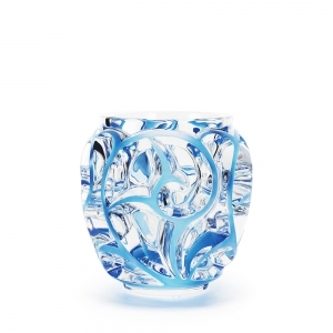Lalique: Tourbillions Vase, Clear/Blue Patinated