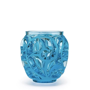 Lalique: Tourbillions Small Vase, Light Blue