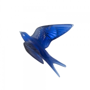 Lalique: Swallow Wings Up Wall Sculpture, Sapphire Blue