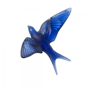 Lalique: Swallow Wall Sculpture, Sapphire Blue