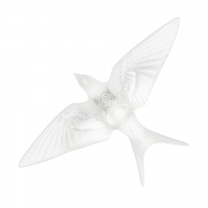 Lalique: Swallow Wings Down Wall Sculpture, Clear