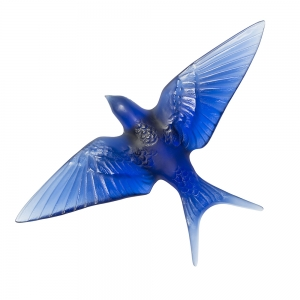 Lalique: Swallow Wings Down Wall Sculpture, Sapphire Blue