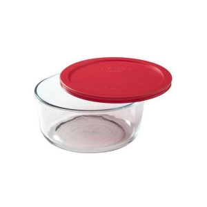 Pyrex: 7-Cup Storage Plus Round Container With Red Lid