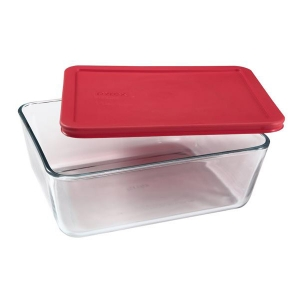 Pyrex: 11-Cup Storage Plus Rectangular Container With Red Lid