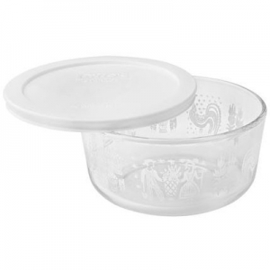 Pyrex: 4-Cup Storage Dish, White Butterprint With White Lid