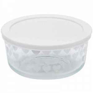 Pyrex: 4-Cup Storage Dish, White Hearts With White Lid