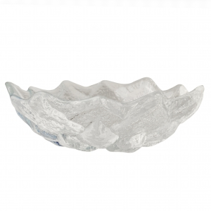 Hudson Beach Glass: Lotus Bowl, White With Jewel Finish