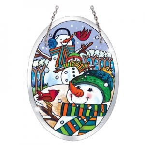 Amia Studios: A Hill of a Lot of Snowmen Small Oval Suncatcher
