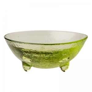 Hudson Beach Glass: 2-Inch Spike Bowl, Peridot With Jewel Finish