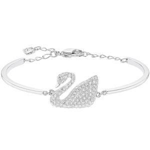 Swarovski: Swan Bangle, Rhodium Plated