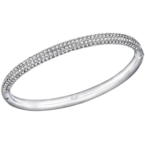 Swarovski: Medium Stone Mini Bangle, White, Rhodium Plated