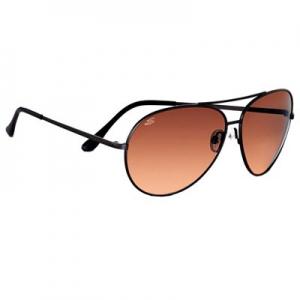 Serengeti: Large Aviator Matte Black Drivers Sunglasses