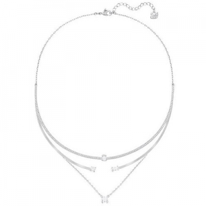 Swarovski: Gray Layered Necklace, Rhodium