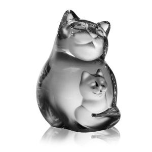 Steuben: Cat & Kitten Hand Cooler