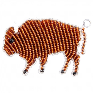 Beadworx: Beaded Bison Keychain