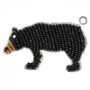 Beadworx: Beaded Black Bear Keychain