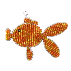 Beadworx: Beaded Goldfish Keychain