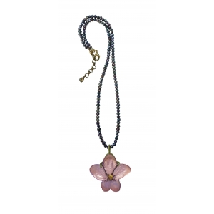 Michael Michaud: African Violet Pendant With Pearl Necklace