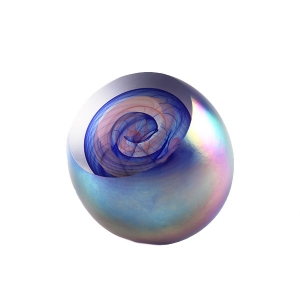 Ed Kachurik: Round Pink and Blue Paperweight With Mother of Pearl Exterior