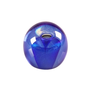 Ed Kachurik: Round Paperweight With Two Blue Veils and an Air Bubble