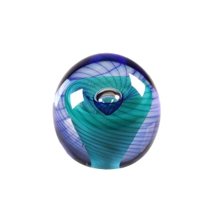 Ed Kachurik: Round Paperweight With Green and Blue Swirls, Air Bubble