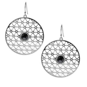 David Howell & Company: 200-Inch Disk Earrings, Black