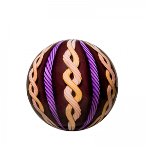 Mark Matthews: 12 Cane Filigrana Sphere, Purple & Tan