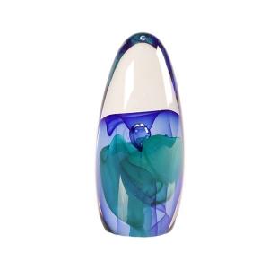 Ed Kachurik: Geyser Green Blue Air Bubble Paperweight