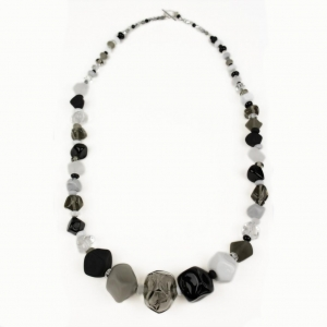 Alicia Niles: Jazz Long Nugget Necklace, Black & White