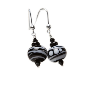 Alicia Niles: Jazz Striped Earrings, Black & White