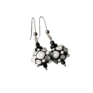 Alicia Niles: Jazz Raised Dot Earrings, Black/White
