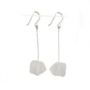Alicia Niles: Jazz Nugget Earrings, Frosted White