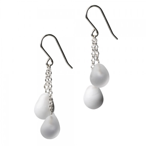 Alicia Niles: Jazz Droplet Earrings, White & Clear
