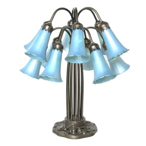 River of Goods: 12 Lily Favrile Lamp, Blue
