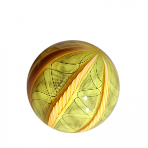 Mark Matthews: 12 Cane Filigrana Sphere, Yellow & Black