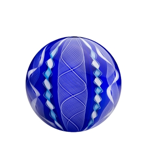 Mark Matthews: 12 Cane Filigrana Sphere, Blue & White