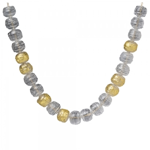Nirit Dekel: Raw Necklace, Clear & Gold