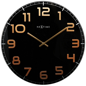 Nextime: Black/Copper Large Round Clock