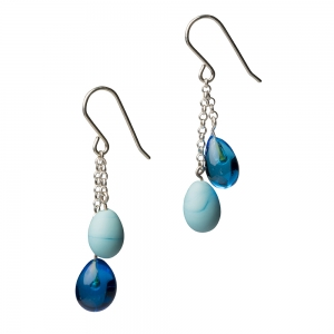 Alicia Niles: Droplet Earrings, Turquoise Mix