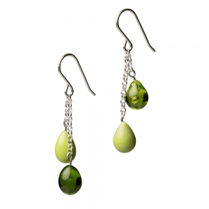 Alicia Niles: Droplet Earrings, Green Iced