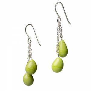 Alicia Niles: Droplet Earrings, Green