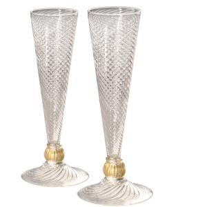 William Gudenrath: Ball Champagne Flute Pair