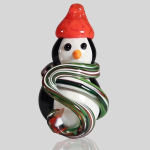 Kingston Glass Studio: Snow Penguin Ornament, Xmas