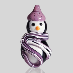 Kingston Glass Studio: Snow Penguin Ornament, Purple