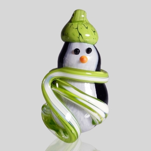 Kingston Glass Studio: Snow Penguin Ornament, Lime