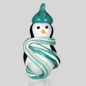 Kingston Glass Studio: Snow Penguin Ornament, Teal